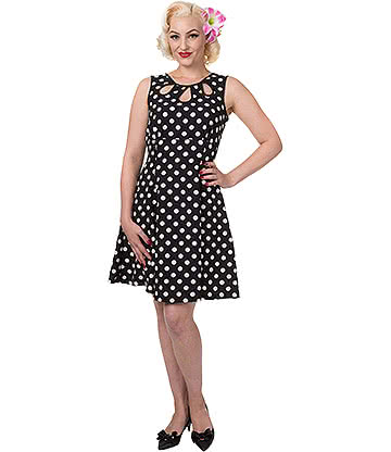 Banned Hearts Polka Dress (Black/White)
