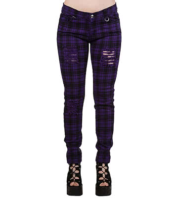 Banned Move On Up Tartan Jeans (Purple)