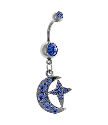 Blue Banana Surgical Steel 1.6mm Moon & Star Navel Bar (Aqua)