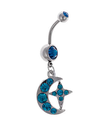 Blue Banana Moon & Star 1.6mm Navel Bar (Zircon)