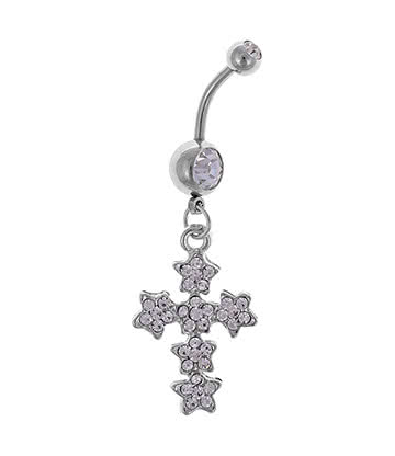 Blue Banana Surgical Steel 1.6mm Fancy Cross Navel Bar (Crystal)