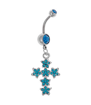 Blue Banana Surgical Steel 1.6mm Fancy Cross Navel Bar (Zircon)