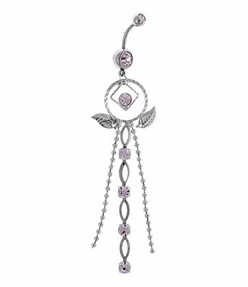 Blue Banana Surgical Steel 1.6mm Dreamcatcher Navel Bar (Crystal)