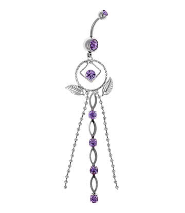 Blue Banana Surgical Steel 1.6mm Dreamcatcher Navel Bar (Amethyst)