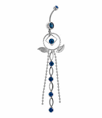 Blue Banana Surgical Steel 1.6mm Dreamcatcher Navel Bar (Zircon)