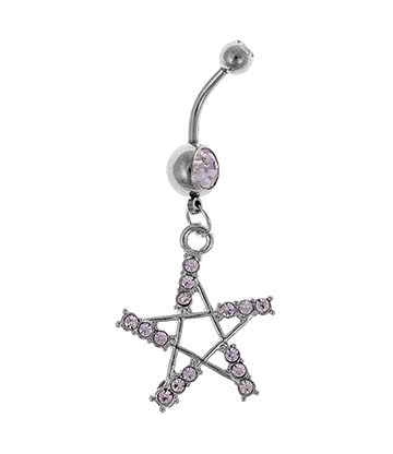 Blue Banana Jewelled Pentagram 1.6mm Navel Bar (Crystal)