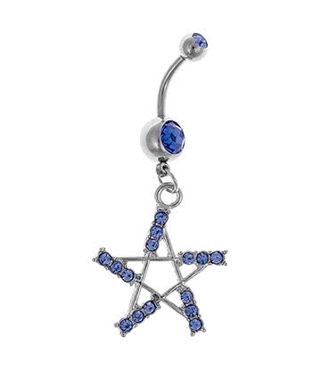 Blue Banana Jewelled Pentagram 1.6mm Navel Bar (Aqua)