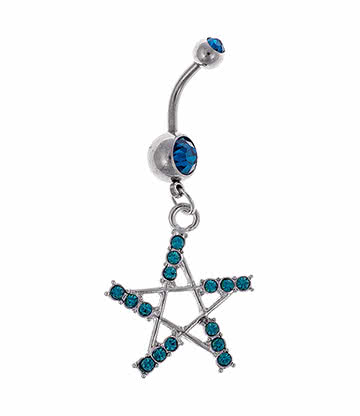 Blue Banana Jewelled Pentagram 1.6mm Navel Bar (Zircon)