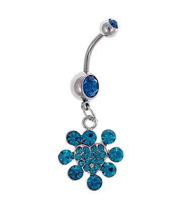Navel Bar Heart Cluster Blue Banana 1.6mm