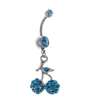 Blue Banana Cherry Dropper 1.6mm Navel Bar (Zircon)