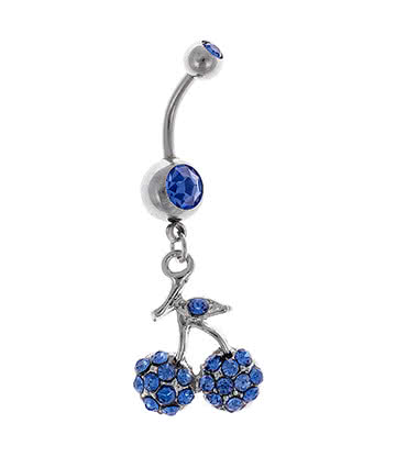 Blue Banana Cherry Dropper 1.6mm Navel Bar (Sapphire)