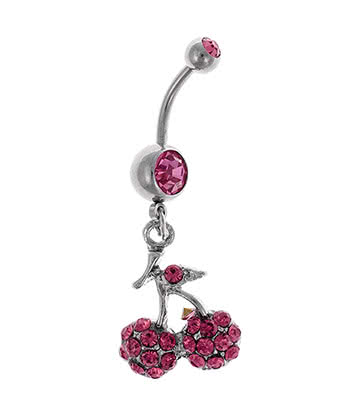 Blue Banana Surgical Steel 1.6mm Cherry Dropper Navel Bar (Rose)