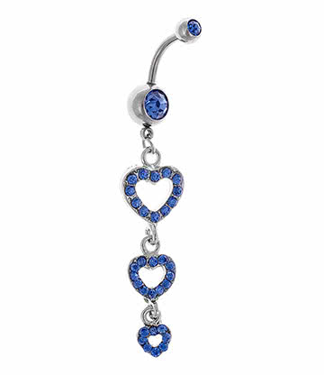Blue Banana Triple Heart 1.6mm Navel Bar (Aqua)