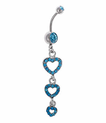 Blue Banana Surgical Steel 1.6mm Triple Heart Navel Bar (Zircon)