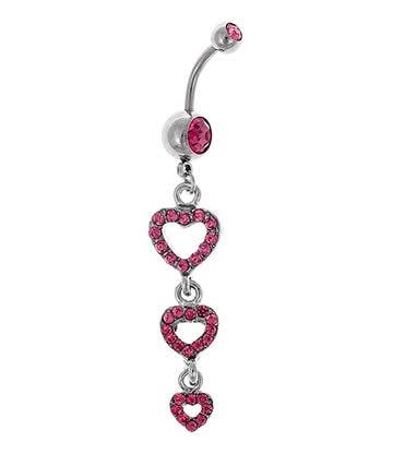 Blue Banana Triple Heart 1.6mm Navel Bar (Rose)