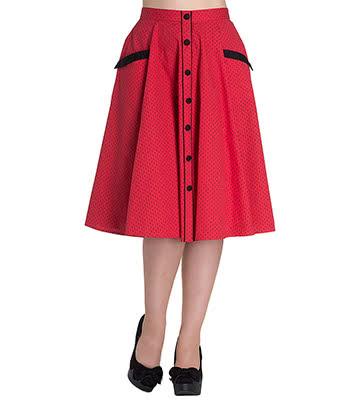 Hell Bunny Martie 50's Skirt (Red)