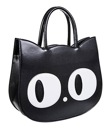 Banned Lizzy The Big Eyed Cat Bag (Black)