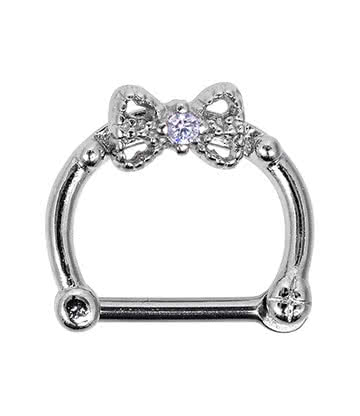Blue Banana 1.2 x 8mm Bow Septum Clicker (Lavender)