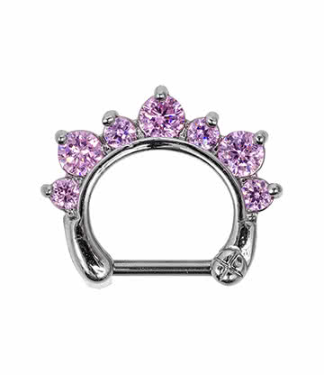 Blue Banana Rhodium Plated 1.2 x 8mm Jewelled Septum Clicker (Rose)