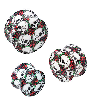 Blue Banana Acrylic Skull & Rose Ear Plug 6-18mm (Black)