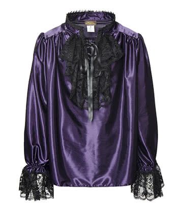 Golden Steampunk Satin Shirt (Purple)