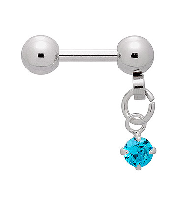 Blue Banana Surgical Steel 1.2mm Dangling Jewel Barbell (Aqua)