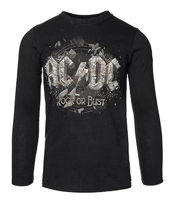 Official AC/DC Rock Or Bust Long Sleeved Top (Black)