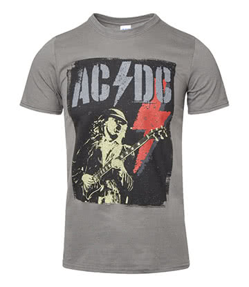 Official AC/DC Angus Flash T Shirt (Grey)