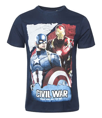 Marvel Comics Captain America Who's Side T Shirt (Navy)