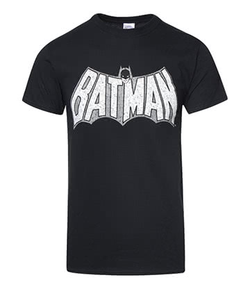DC Comics Batman Crackle Logo T Shirt (Black)