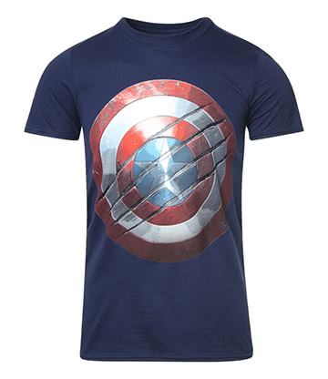 Captain America Clawed Shield T Shirt (Navy)