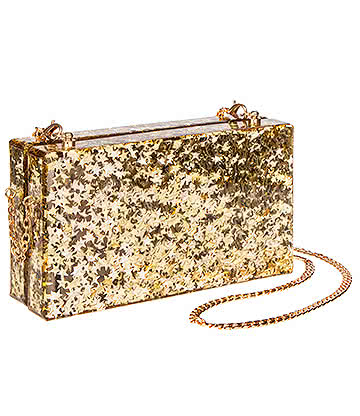 Blue Banana Star Glitter Box Clutch Bag (Gold)