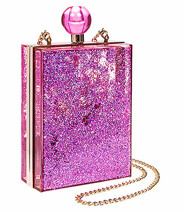 Blue Banana Glitter Box Clutch Bag (Pink)