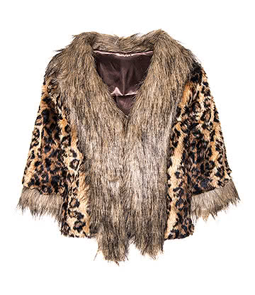 Bleeding Heart Leopard Print Faux Fur Jacket (Multicoloured)