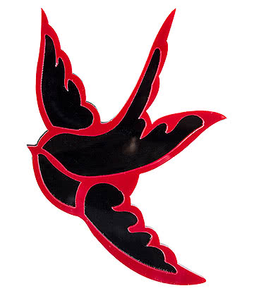 Blue Banana Swallows Brooch (Red)
