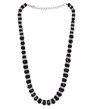 Blue Banana Crystal Glass Necklace (Black)