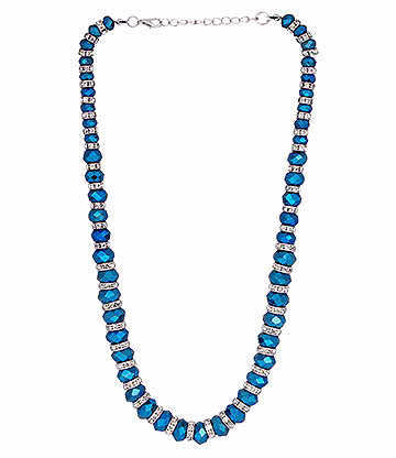 Blue Banana Crystal Glass Necklace (Blue)