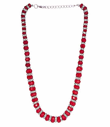 Blue Banana Crystal Glass Necklace (Red)