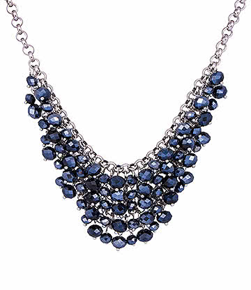 Blue Banana Crystal Dangle Necklace (Black)