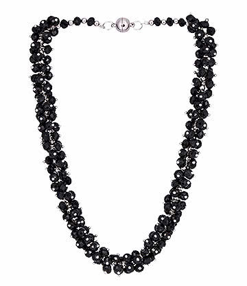 Blue Banana Crystal Glass Grape Necklace (Black)