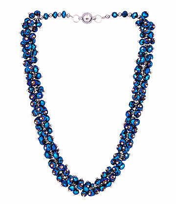 Blue Banana Crystal Glass Grape Necklace (Blue)