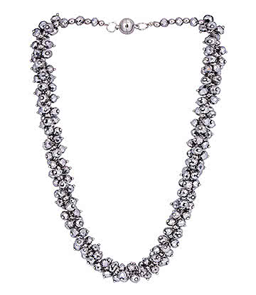 Blue Banana Crystal Glass Grape Necklace (Silver)