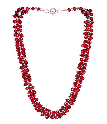Blue Banana Crystal Glass Grape Necklace (Red)