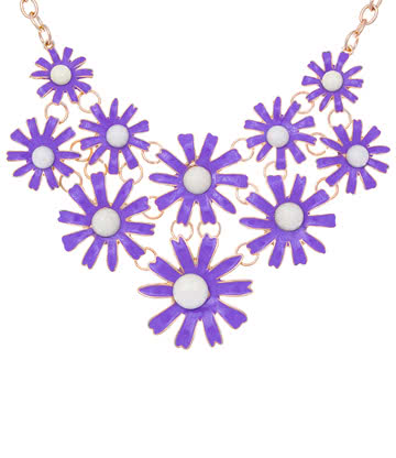 Blue Banana Daisy Necklace (Purple)