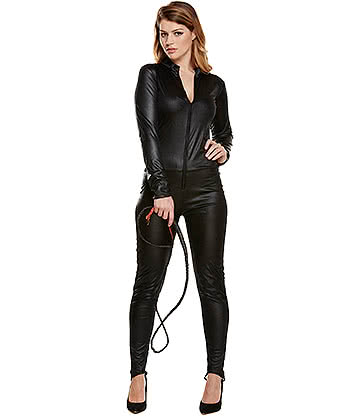 Blue Banana Combinaison Sexy Simili Cuir Halloween Style Cat Woman (Noir)