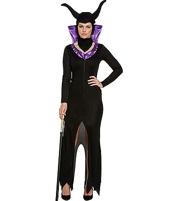 Costume Fancy Dress Evil Queen (Nero/Viola)