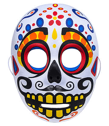 Day of the Dead Masque En P¨lastique Design Sugar Skull Coloré Inquiétant (Blanc)