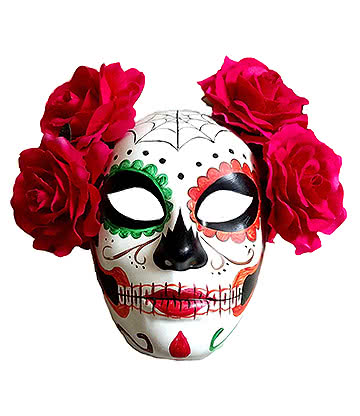 Blue Banana Deluxe Day of the Dead Mask Masque Sugar Skull Tête Mort Colorée Femme Avec Fleur (Multicolore)