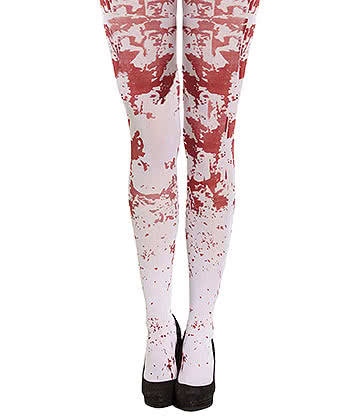 Blue Banana Blood Splatter Tights (White)