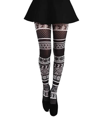 Pamela Mann Fairisle Tights (Black/White)